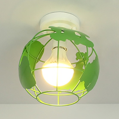 Modern Globe Cage Flush Ceiling Light 1 Light Metal Ceiling Lamp in Blue/Green/Red/Yellow for Bedroom