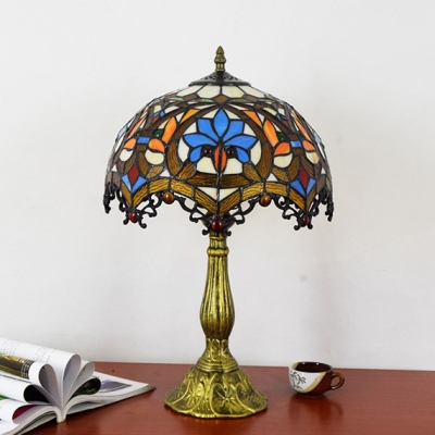 Lotus Living Room Desk Light Stained Glass 1 Light Tiffany Rustic Table Light with Bead
