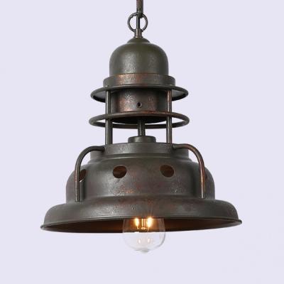 Metal Barn Shade Pendant Light 1 Light Industrial Suspension Light in Rust for Cafe Bar
