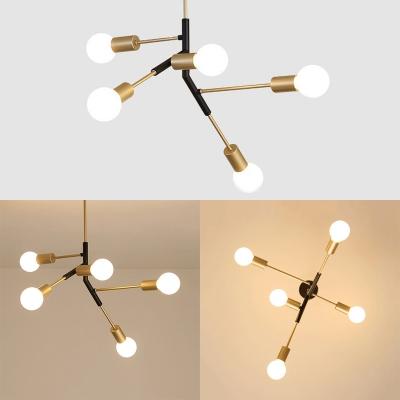 Metal Linear Arm Hanging Lamp 5 Lights Metal Chandelier in Black & Gold for Study Room
