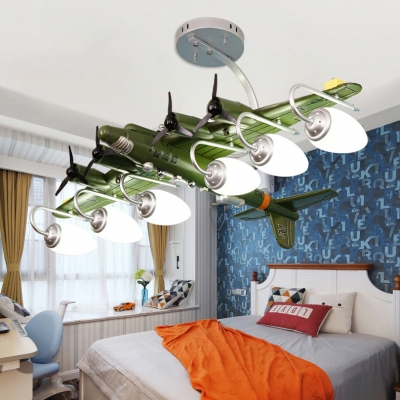 Metal Propeller Airplane Ceiling Lamp 3/6 Lights Modern Cool Hanging Light in Green for Bedroom