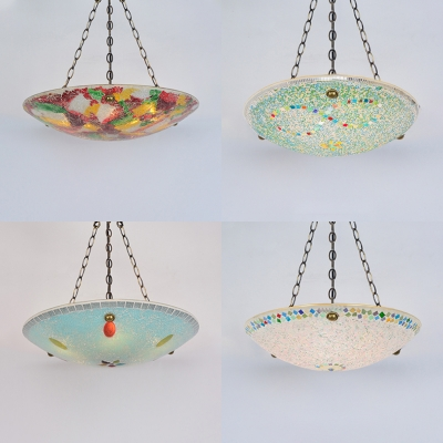 Mosaic Multi Color Inverted Chandelier Domed Shade 5 Lights 19 Inch