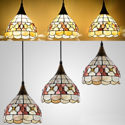 Multi-Color Floral Hanging Light 3 Lights Tiffany Rustic Glass Ceiling Pendant for Restaurant