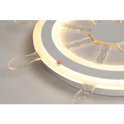 Nautical Style Rudder Ceiling Light Acrylic LED Flush Mount Light in Warm White/White for Teen