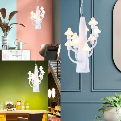 Nursing Room Mushroom Chandelier Metal 6/9 Lights Simple Style White Pendant Light