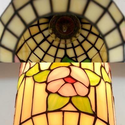 Restaurant Lantern Pendant Light Glass 1 Light Asian Style Beige Suspension Light