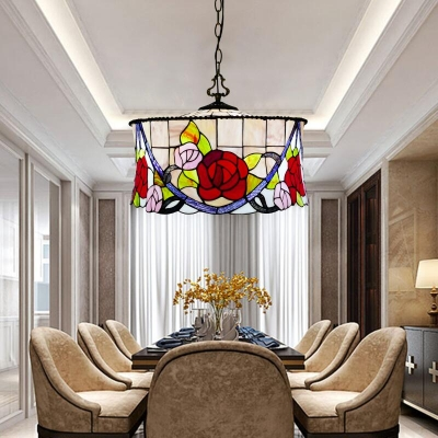 Restaurant Rose Pendant Light with Grid Drum Stained Glass 3 Lights Tiffany Rustic Hanging Light