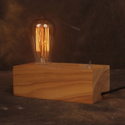 Restoration Country Wood Industrial Accent LED Table Lamp with Edison Bulb