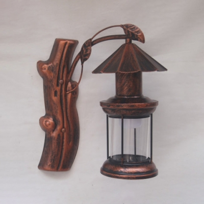 Retro Loft Kerosene Wall Lamp Metal 1 Light Black/Antique Copper Sconce Light with Plant Decoration for Hotel