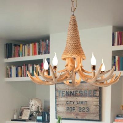 Rustic Style Deer Horn Chandelier Resin and Rope 3/5 Lights Beige Pendant Lighting for Bedroom Dining Room
