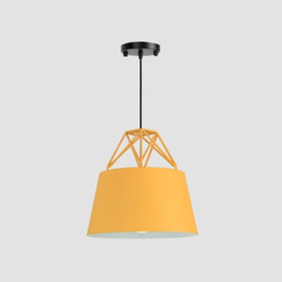 Single Light Bucket Hanging Light with Wire Frame Nordic Metal Pendant Light with Macaron Color for Cloth Shop