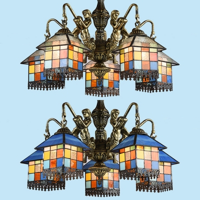 Stained Gl House Pendant Lamp With Mermaid 5 Lights Tiffany Style