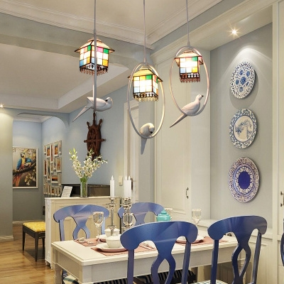 Stained Glass House Pendant Light with Bird Decoration Kitchen Tiffany Rustic Ceiling Pendant
