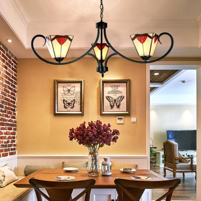 Study Room Floral Pendant Light Art Glass 3 Lights Tiffany Style Rustic Chandelier in White