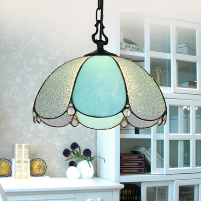 Tiffany Simple Style Petal Ceiling Pendant Blue/Blue & Frosted Glass 1 Light Suspension Light for Shop