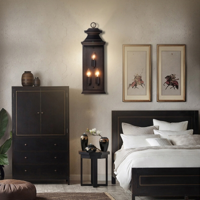 Vintage Style Fake Candle Wall Lamp with Shade 3 Lights Bronze Wall Light for Front Door