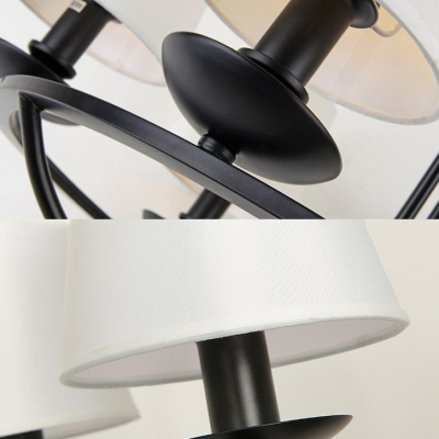 Vintage Style Tapered Shade Chandelier Metal Linen 8/10 Lights Black Pendant Light for Living Room