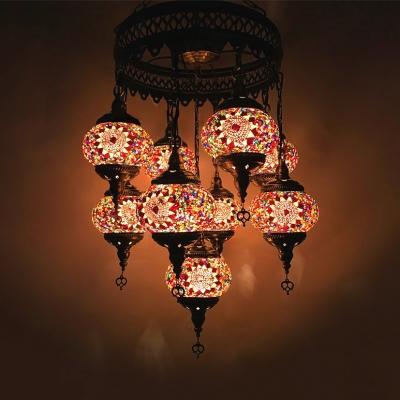 Wrought Iron Round Chandelier Villa 9 Lights Turkish Mosaic Pendant Lamp in Coffee/Gold/Off-White