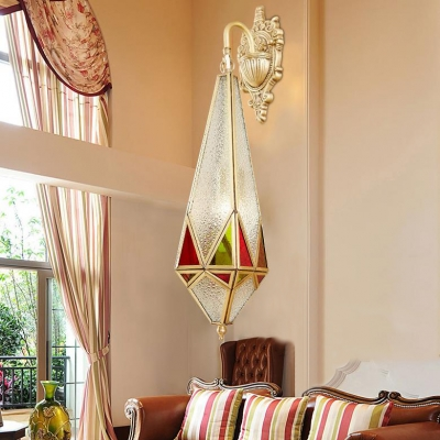 1 Light Teardrop Sconce Light Colonial Style Glass Metal Wall Lamp in Brass for Hotel Bathroom