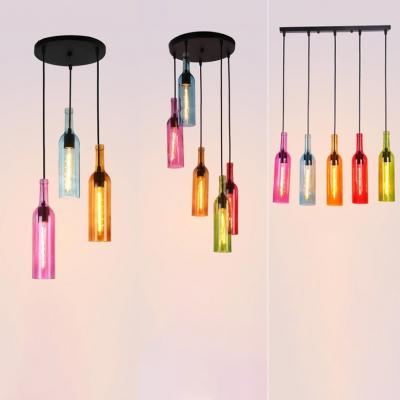 Creative Multi-Color Ceiling Pendant Wine Bottle 3/5 Lights Glass Hanging Lamp for Shop Bar HL534140 фото