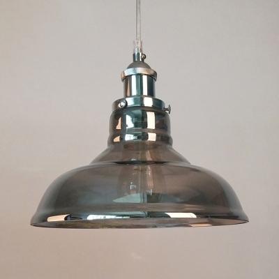 Smoke Gray Barn/Funnel Hanging Light 1 Light Antique Style Glass Ceiling Pendant for Dinning Table