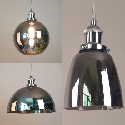 Bowl/Dome/Sphere Pendant Lamp Vintage Style Smoke Gray Glass Edison Bulb Hanging Light for Bar