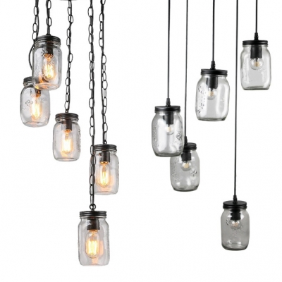 Black Jar Hang Light with Cord/Chain 5 Lights Vintage Style Ripple Glass Ceiling Light for Bar