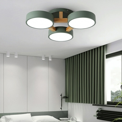 Nordic Drum Semi Ceiling Mount Light Acrylic 3/4/5 Lights Candy Colored LED Ceiling Lamp in Warm/White for Bedroom