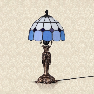 Tradition Tiffany Grid Dome Table Light Art Glass Resin 1 Light Blue Desk Light for Living Room