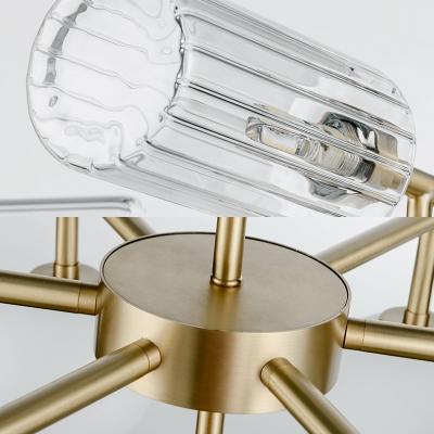 Modern Cylinder&Globe Chandelier Glass 13 Lights Gold Suspension Light for Hotel Living Room