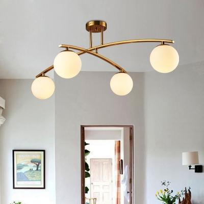 3/4/5 Lights Semi Flush Ceiling Light Modern Milk Glass LED Ceiling Fixture in Gold for Study Room