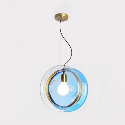 Glass Drum Suspension Light 1 Head Contemporary Pendant Lamp in Dark Blue/Light Blue/Pink for Kid Bedroom