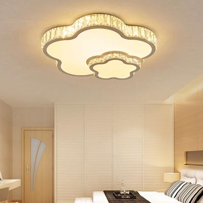 Acrylic Flower Flush Mount Light White Lighting Modern Ceiling Light with Crystal for Bedroom