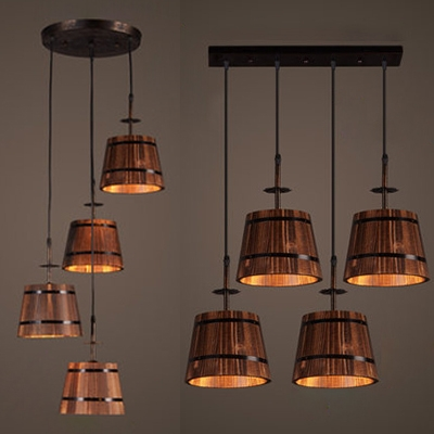 Antique Barrel Ceiling Pendant Wood 4 Lights Brown Hanging Light With
