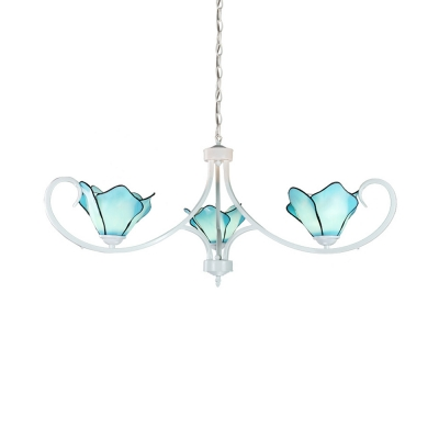 Art Glass Flower Chandelier Bedroom Hallway 3 Lights Tiffany Style Pendant Light in Blue