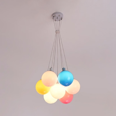 Balloon Kid Bedroom Pendant Light Acrylic 7 Lights Colorful LED Hanging Lamp in Warm/White