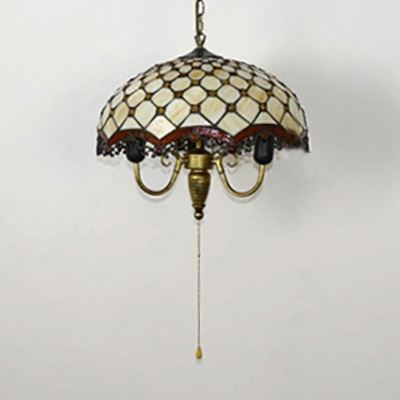 Beige Scalloped Shade Pendant Lamp with Beads & Pull Chain 3 Lights Vintage Glass Hanging Light for Cafe