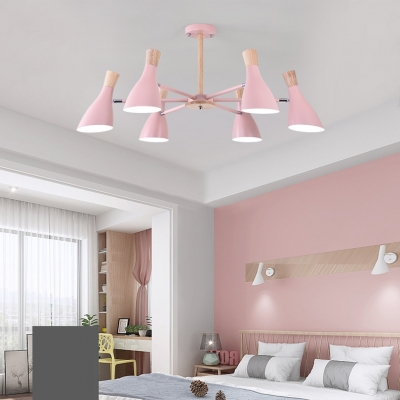 Bottle Girls Bedroom Chandelier Wood 3/6/8 Lights Nordic Style LED