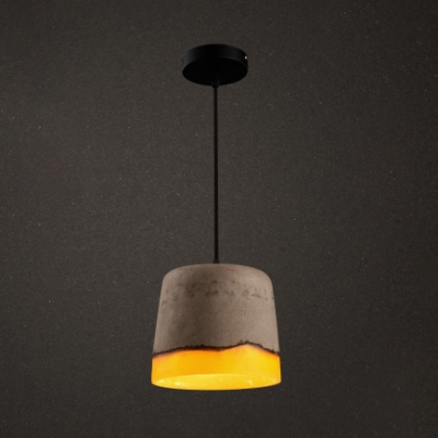 Cement Drum Shape Ceiling Light 1 Light Industrial Hanging Lamp in Gray for Dining Room