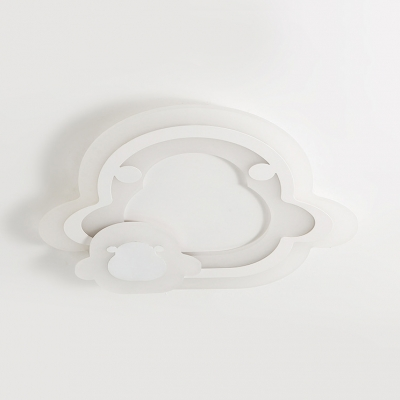 Circle/Heart/Penguin Flush Mount Light Cute Acrylic LED Ceiling Light in Warm/White for Kid Bedroom