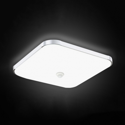 Contemporary White LED Flush Mount Light Square Acrylic Radar Sensor/Sound Activated Ceiling Lamp for Garage