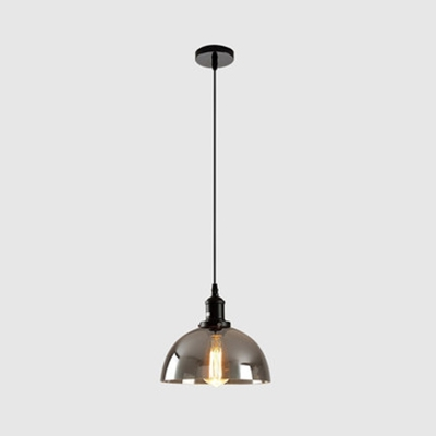 Dome Shade Corridor Ceiling Light Smoke Gray Glass Single Light Industrial Suspension Light