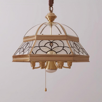 Elegant Style Bell Suspension Light with Pull Chain 19.5 Inch Glass Ceiling Light in Gold for Study Room
