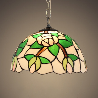 Floral Theme Cafe Hanging Light Stained Glass 12 Inch Tiffany Vintage Pendant Light