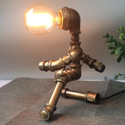 Industrial Curtsy Robot Desk Light 1 Head Metal Study Lighting in Brass for KTV Cafe