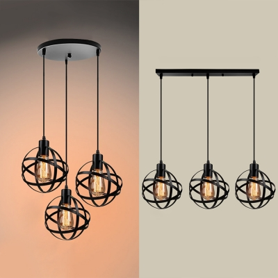 Industrial Wire Globe Ceiling Light 3 Lights Linear Round Canopy Hanging Light In Black For Bar Beautifulhalo Com