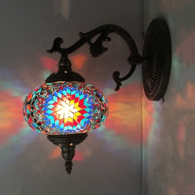 KTV Restaurant Spherical Wall Light Stained Glass 1 Light Moroccan Turkish Blue/Red/White Wall Sconce