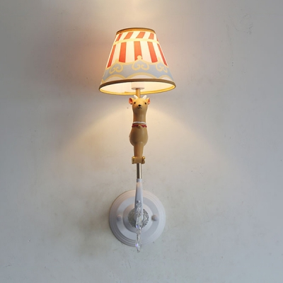Lovely Horse Shade Wall Light 1 Light Metal LED Sconce Lamp with Crystal for Boy Girl Bedroom