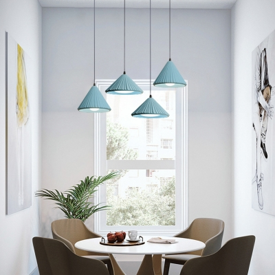 Modern Candy Colored Pendant Light Conical Shade Single Head Cement Hanging Lamp for Dining Table