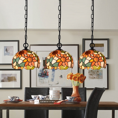 Orange Sunflower Pendant Light 2/3/5 Lights Tiffany Rustic Stained Glass Hanging Light for Balcony
